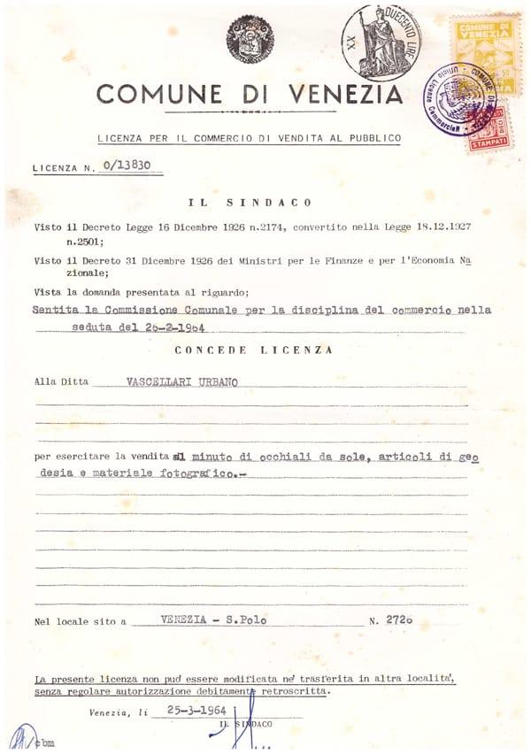 autorizzazione apertura 1964