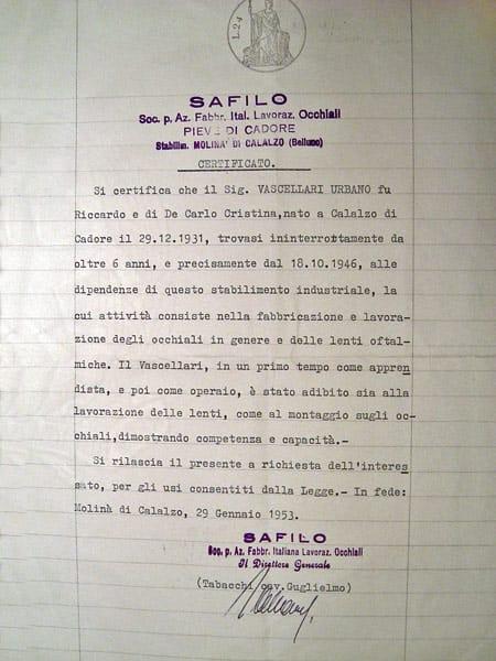 Dichiarazione Safilo